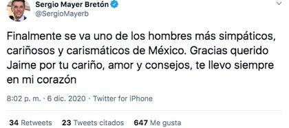 A través de un mensaje publicado en su cuenta de Twitter, Sergio Mayer denunció la muerte de su suegro (Foto: Twitter)