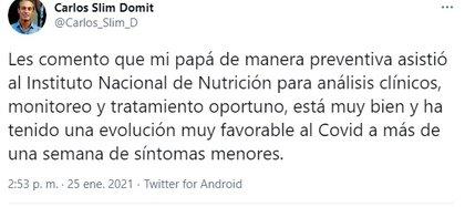 El anuncio sobre la salud de Carlos Slim Helú