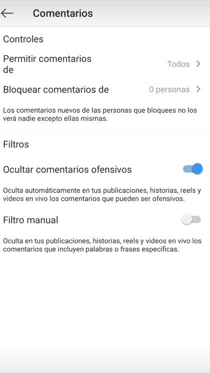 Dentro de Comentarios se puede optar por bloquear usuarios así como elegir un filtro para bloquear comentarios ofensivos de manera automática o manual