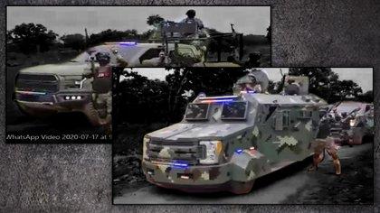 Uno de los vehículos exhibidos en el video del CJNG (Gráfico: Jovani Silva/ Infobae México)