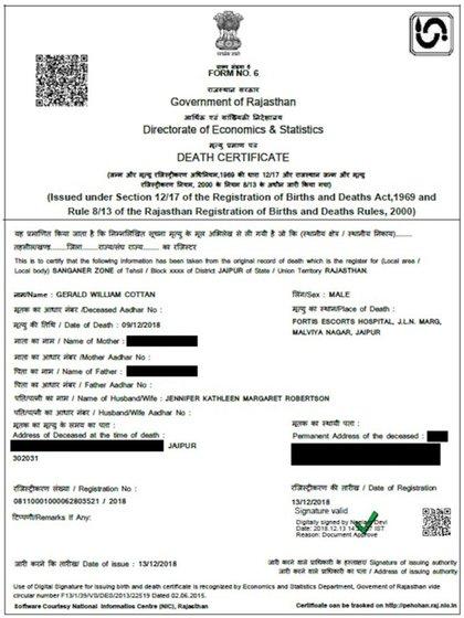 El certificado de fallecimiento de Gerald Cotten, emitido por el gobierno de la India (CoinDesk)