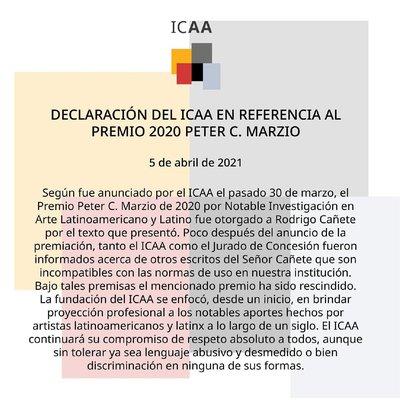 Comunicado del International Center for the Arts of the Americas del Museo de Bellas Artes de Houston (ICAA/MFAH)