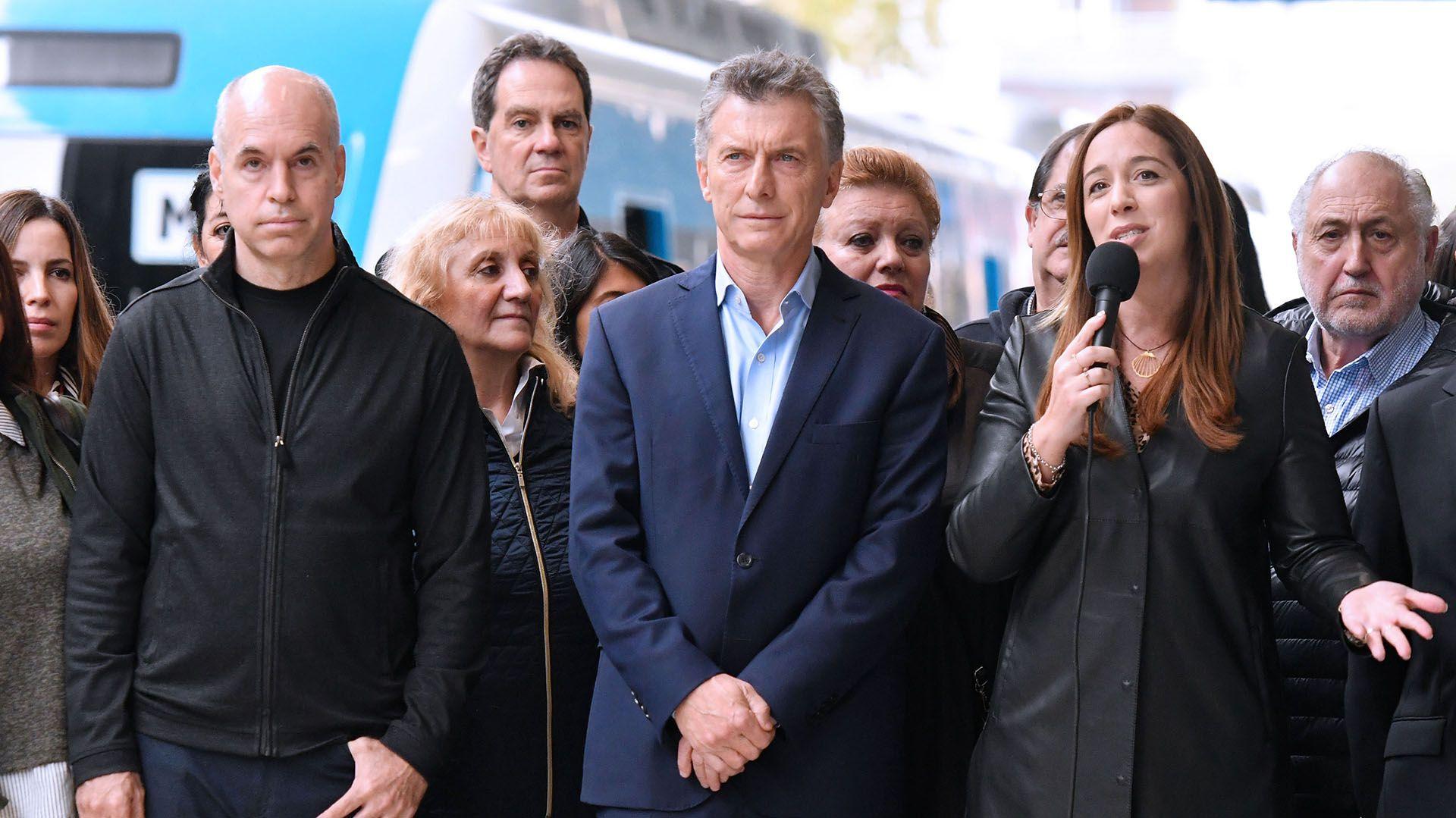 Larreta, Macri y Vidal (Télam)