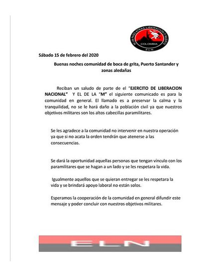 El panfleto del ELN en febrero 2020