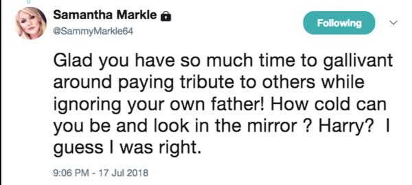 Samantha Markle arremetió contra Meghan Markle en Twitter