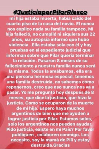 El pedido de la madre de Pilar Riesco que se difundió en las redes sociales