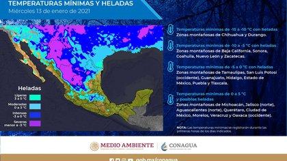 Prévisions du SMN pour le 13 janvier dans tout le pays (Photo: Twitter @ conagua_clima)