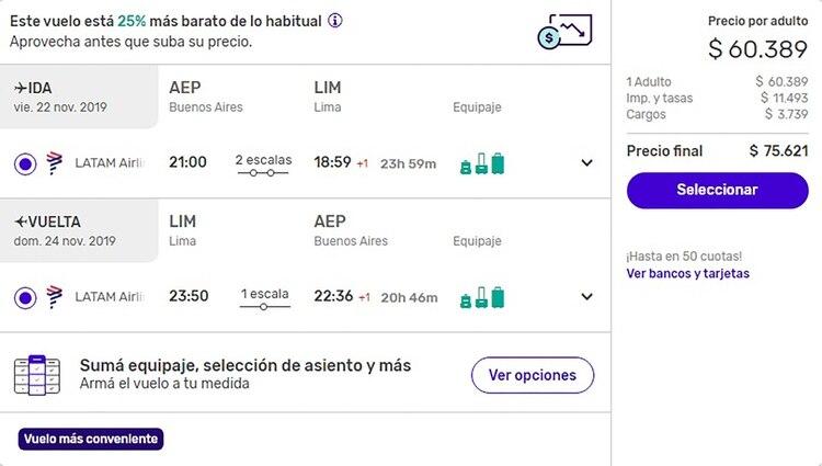 Los precios de los vuelos a Lima se duplicaron en menos de 24 horas