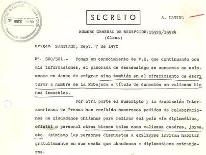 Párrafos de un cable de la Embajada de la Argentina en Chile al Palacio San Martín