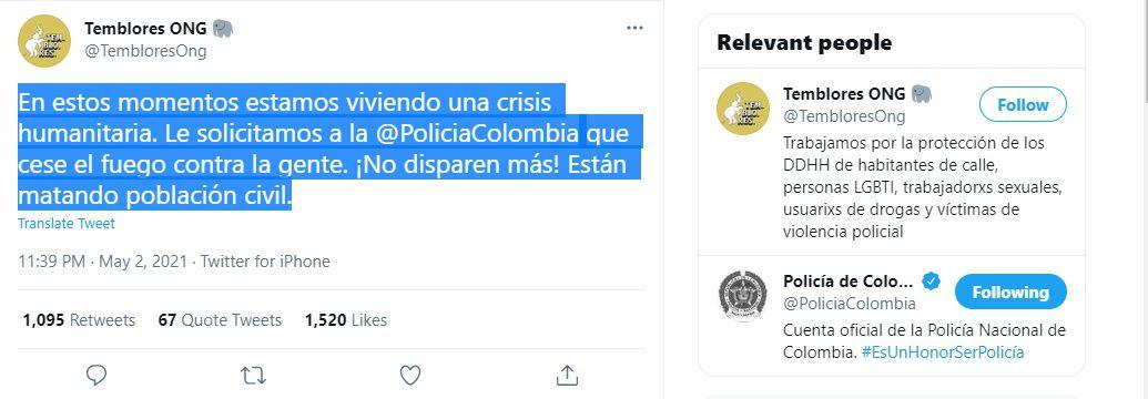ONG reporta choques entre manifestantes y autoridades en Bogotá