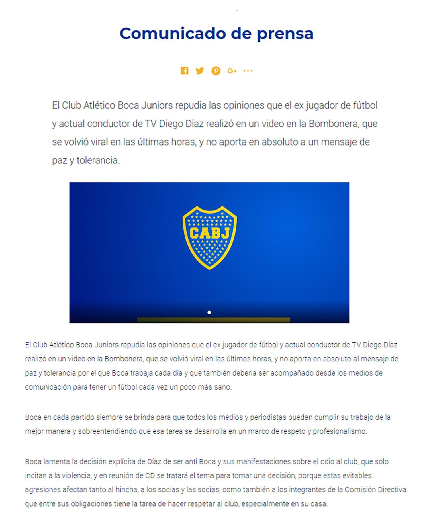 Comunicado Boca Juniors contra Diego Díaz