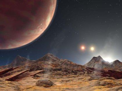 Representación artística de la vista desde la superficie lunar de un gigante gaseoso y tres soles. (Crédito de la imagen: NASA / JPL-Caltech)