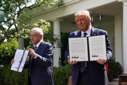 Ambos líderes políticos firmaron una declaración conjunta sobre el T-MEC y sin tocar temas de migración (Foto: Kevin Lamarque/ Reuters)
