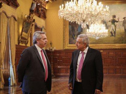 López Obrador y Alberto Fernández en el Palacio Nacional