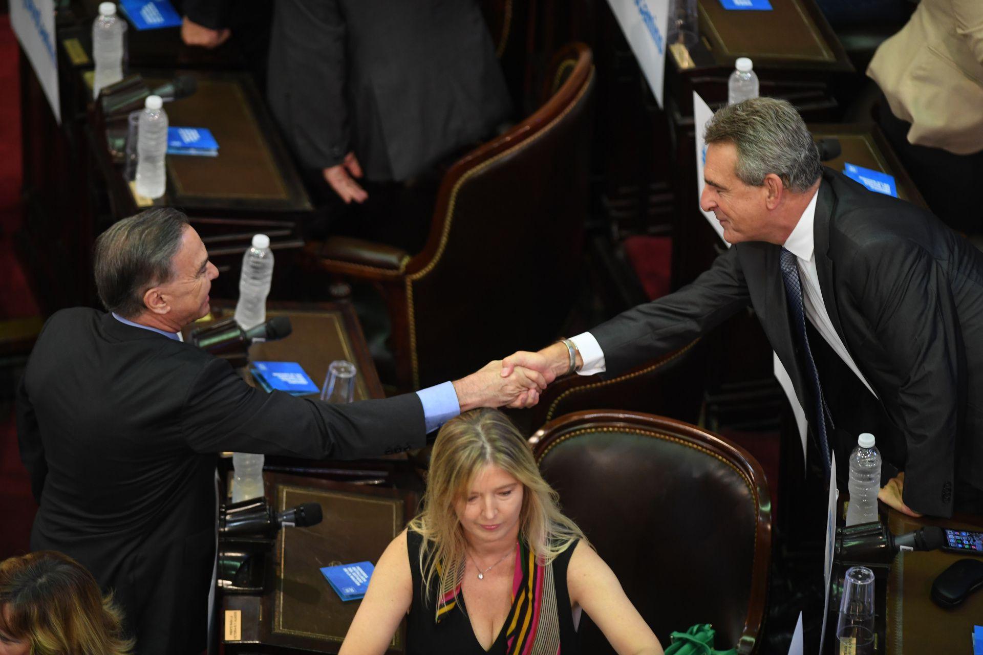 Miguel Pichetto y Agustín Rossi se saludan en la Cámara de Diputados (Maximiliano Luna)