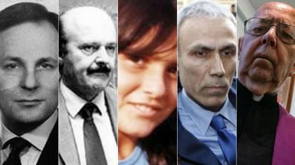 De izquierda a derecha: Enrico De Pedis, Roberto Calvi, Emanuela Orlandi, Ali Agca y Gabriele Amorth