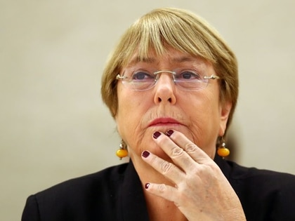La alta comisionada para Derechos Humanos de la ONU, Michelle Bachelet, durante una sesión del Consejo de Derechos Humanos en Ginebra, Suiza (REUTERS/Denis Balibouse)