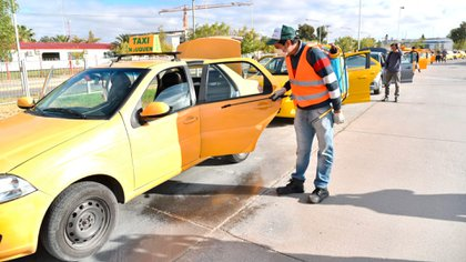 Desinfección de taxis y remises en la ciudad de Neuquén