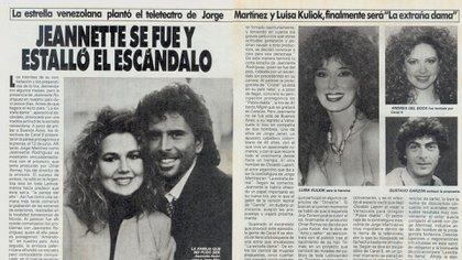 La partida de Jeannette Rodríguez en la prensa de la época