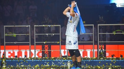 Diego Simonet fue la gran figura de Montpellier en la final de la Champions League ante Nantes (AFP)