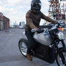 Taras Kravtchouk, founder of Tarform, riding one of his company's motorcycles in the Brooklyn Navy Yard. (Ben Sklar for The New York Times)