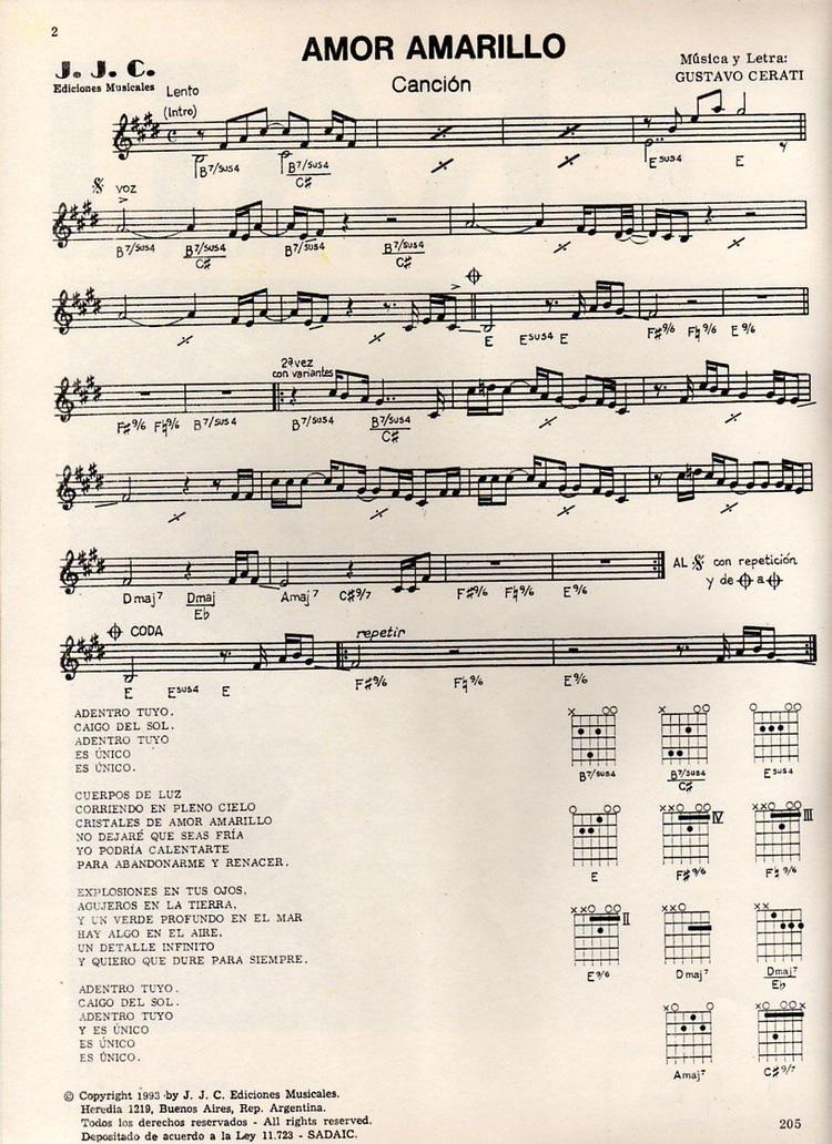 "La partitura de ""Amor amarillo"""