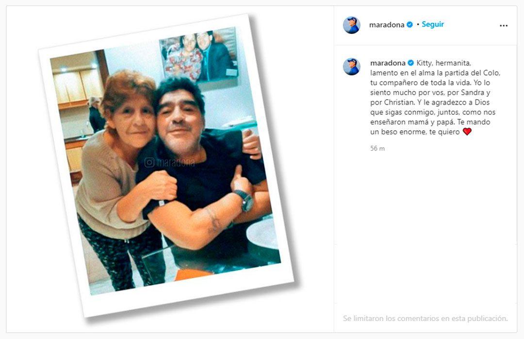 Mensaje de Maradona a su hermana