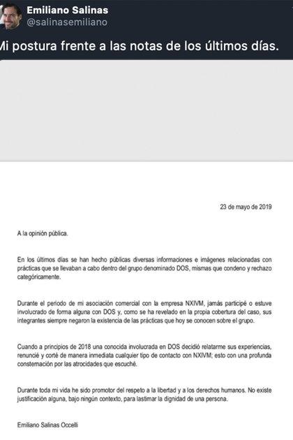 Durante el juicio de 2019, Emiliano Salinas emitió un comunicado para negar su participación y eso es todo lo que ha dicho al respecto: (Foto: Twitter @ salinasemiliano)