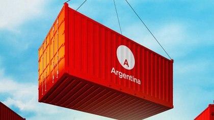El nuevo logo en un contenedor