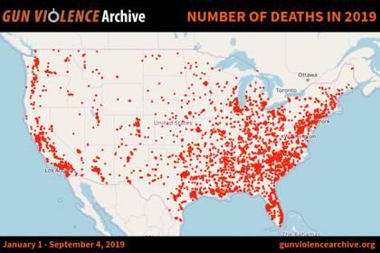 Las huellas de la violencia por armas de fuego en EEUU (Foto: Cortesía Gun Violence Archive)