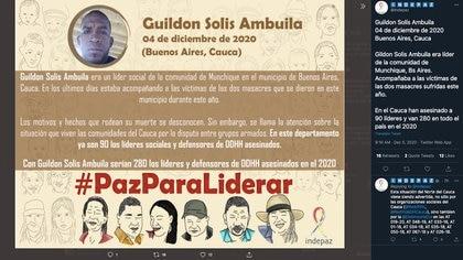 En once meses Indepaz ha reportado 90 asesinatos de líderes sociales en Cauca y 280 a nivel nacional en 2020 / (Twitter: @Indepaz).