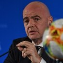 FIFA President Gianni Infantino speaks at a press conference during the football federation's Council meeting in Shanghai on October 24, 2019. - FIFA has awarded the inaugural edition of its expanded 24-team Club World Cup to China, the association's president Gianni Infantino said October 24 in what he called a