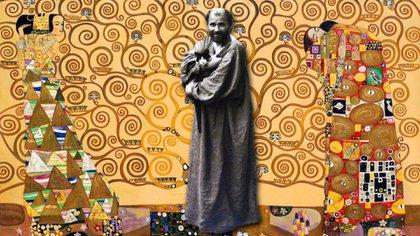 "Gustav Klimt y su ""Arte de la vida"" (1909) detrás"