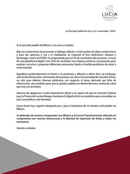 El senador Trosvia emitió un comunicado después de que el foro fuera cancelado y prometió esperar la aprobación de la hidrodinámica por parte de Coffebris (foto: Twitter @luciatraswbcs)