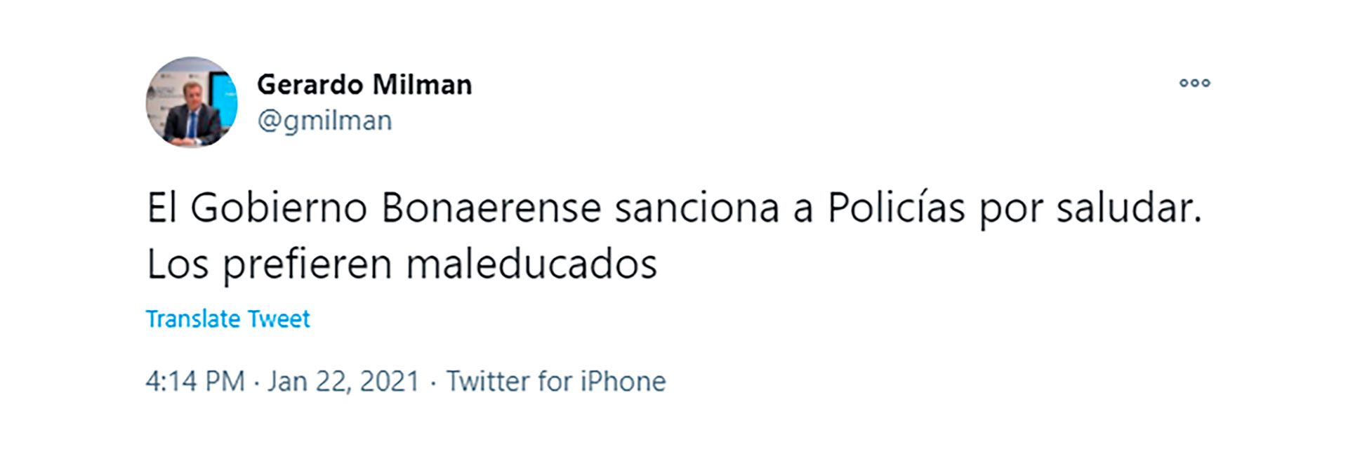 gerardo milman twitter fuerzas seguridad