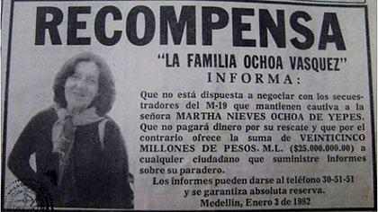Clasificados en periódicos puestos por el clan Ochoa ante el secuestro de su hermana menor.