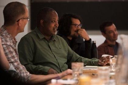 "A ""Soul"" brain trust meeting, including Pete Docter, Kemp Powers, Trevor Jimenez and Mike Jones, on July 22, 2019 at Pixar Animation Studios in Emeryville, Calif. (Photo by Deborah Coleman / Pixar)"