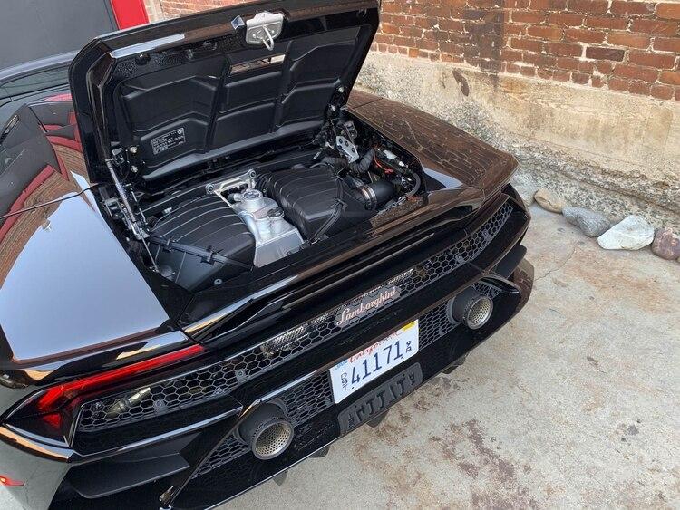 El motor V10 delHuracan EVO Spyder. (Foto: Hannah Elliott/Bloomberg)