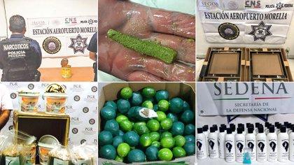 Se ha encontrado droga en mole, linones, cuadros, latas y muchos escondites más Foto: (Policía federal, PGR, Sedena)