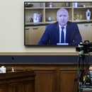 Amazon CEO Jeff Bezos testifies via video conference during a hearing of the House Judiciary Subcommittee on Antitrust, Commercial and Administrative Law on