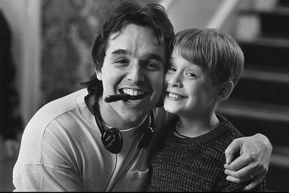 Chris Columbus y Macaulay Culkin en el rodaje