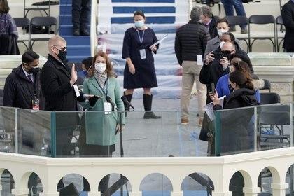 Los ensayos para la ceremonia de asunción de Joe Biden (Patrick Semansky/REUTERS)