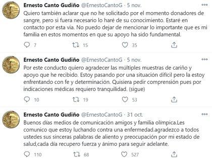 Los últimos tuits de Ernesto Canto (Foto: Twitter@ErnestoCantoG)