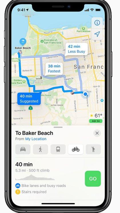 Se sumaron rutas para navegar en la aplicación Mapa.