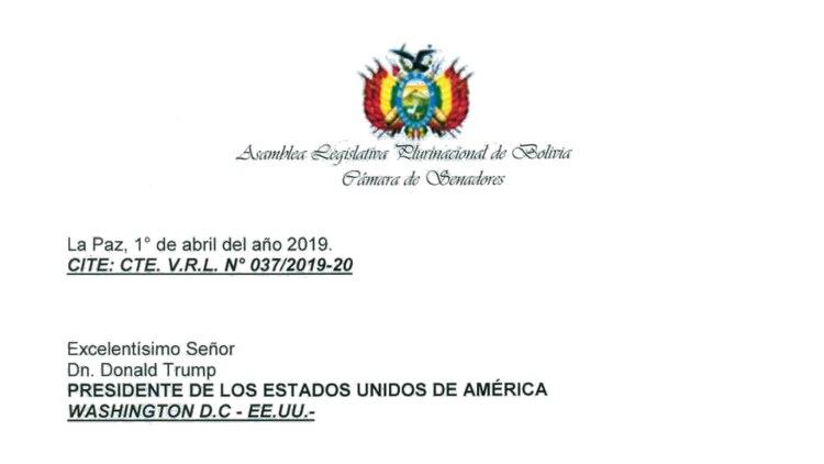 Carátula de la carta que los diputados y senadores bolivianos a Donald Trump