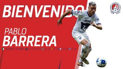 Atlético de San Luis confirmó la llegada de la veterana leyenda universitaria, Pablo Barrera (Foto: Twitter/ @AtletideSanLuis)