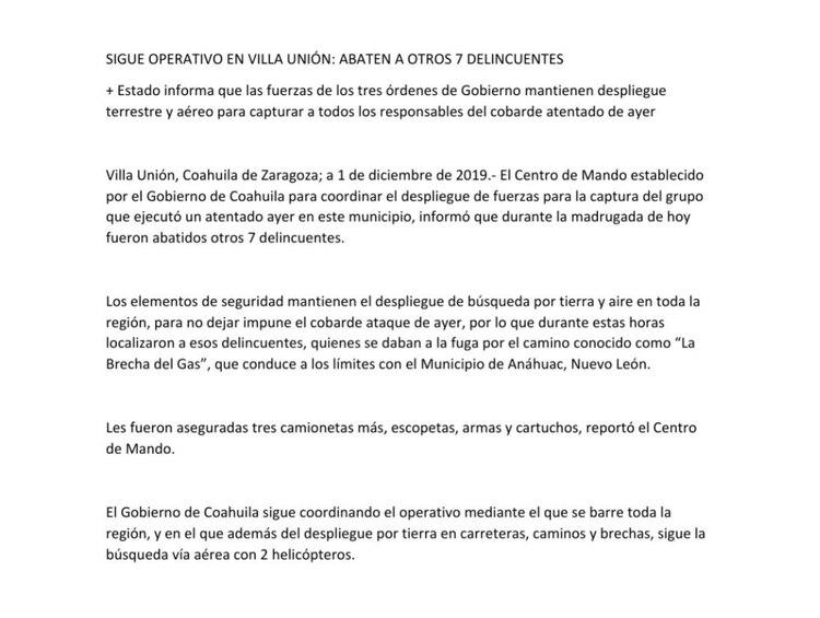 Comunicado del gobierno de Coahuila (Foto: Twitter)