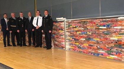 Más de mil kilos de cocaína exhibidos este lunes por la Policía de Canadá. (@OPP_News)