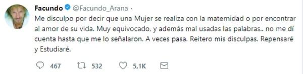 Las disculpas de Facundo Arana en las redes sociales sobre sus dichos