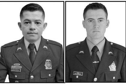 Subintendente Milton Flórez y patrullero Raúl Bustamante asesinados en Córdoba. Foto: cortesía Policía Nacional.
